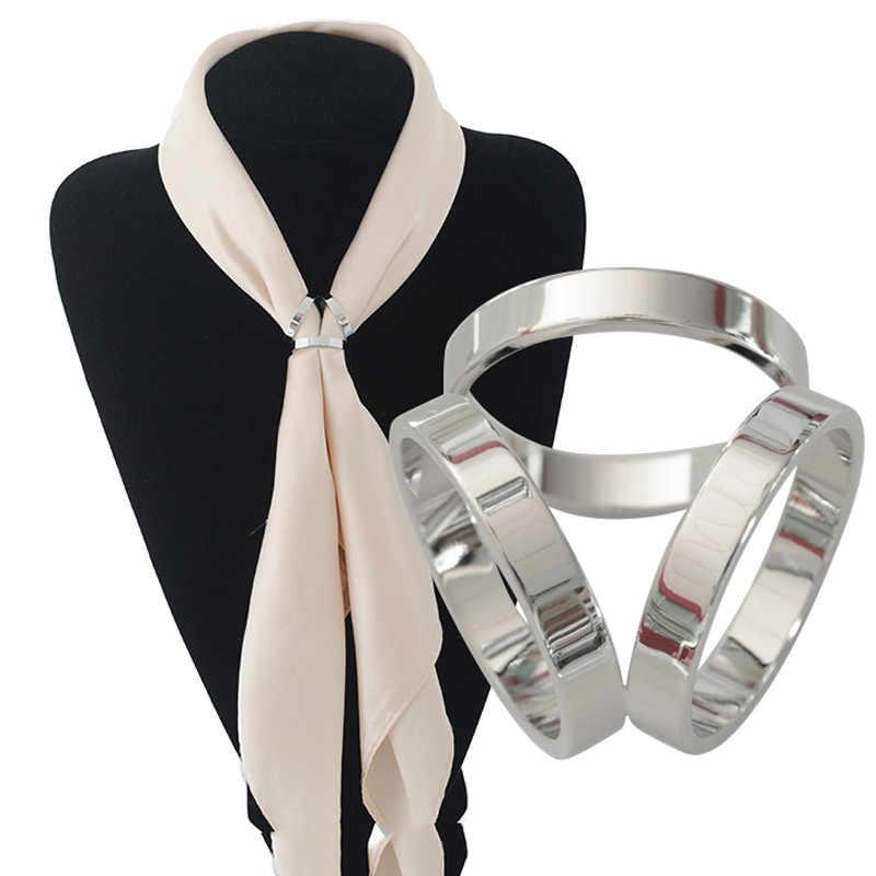 Baru 2019 Hot Syal Perhiasan Aksesoris Sutra Selendang Gesper Ring Clip Trisiklik Syal Gesper Mewah Sederhana Wanita Gadis Partai Hadiah