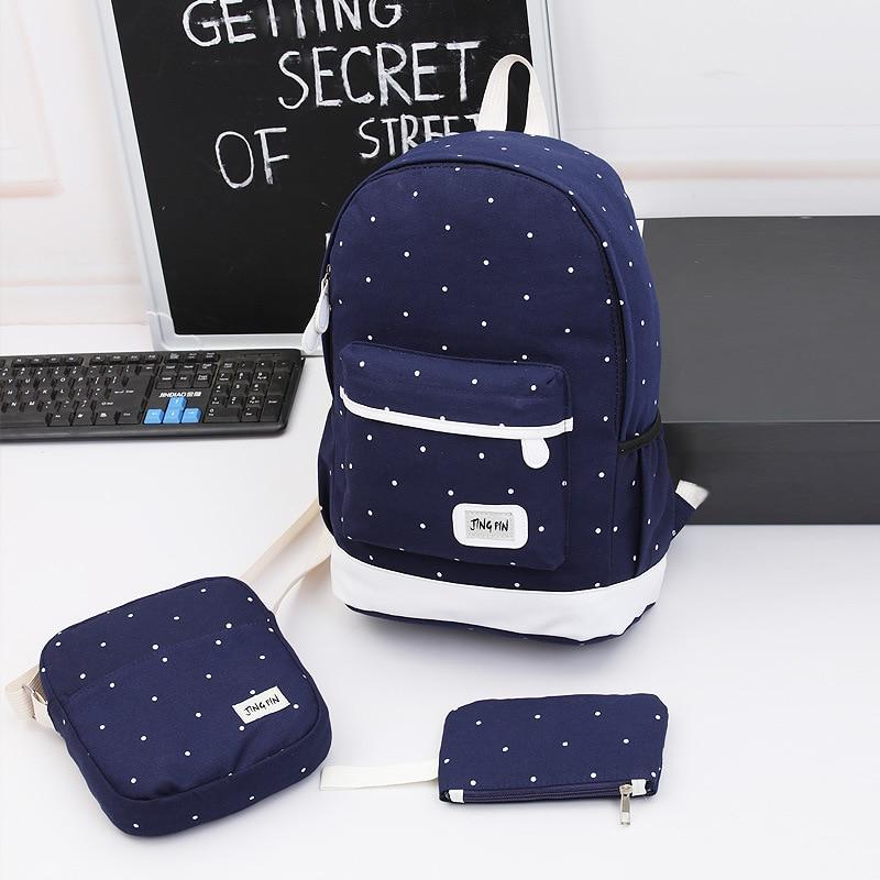 Women 3Pcs Sets Canvas Backpack Cute Polka Dot Printed School Bag For Teen Girls Travel Backpack Shoulder Bag Clutch 3 Sets все цены