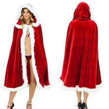 цена на Women Girls Christmas Cloak Cosplay Santa Claus Red Velvet Long Cloak Capes Xmas Party Dress Decoration Supplies