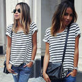 Plus Size Short Sleeve New Women Tops O-Neck T-Shirt Short Sleeve Striped T Shirts Tees Blusas Femininas Free Shipping S M L XL