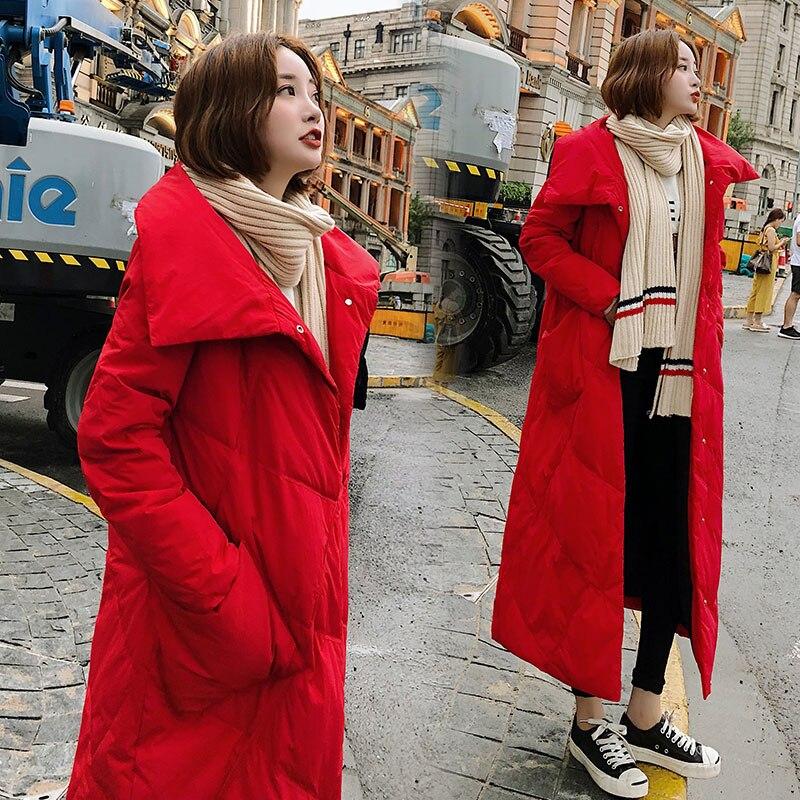 D'hiver Long 2018 Neige Solide Parka White Chaud Black Mode Femmes Épais red De Veste Poche Manteau Couleur Feminina Habit rice Luxe BwBr5