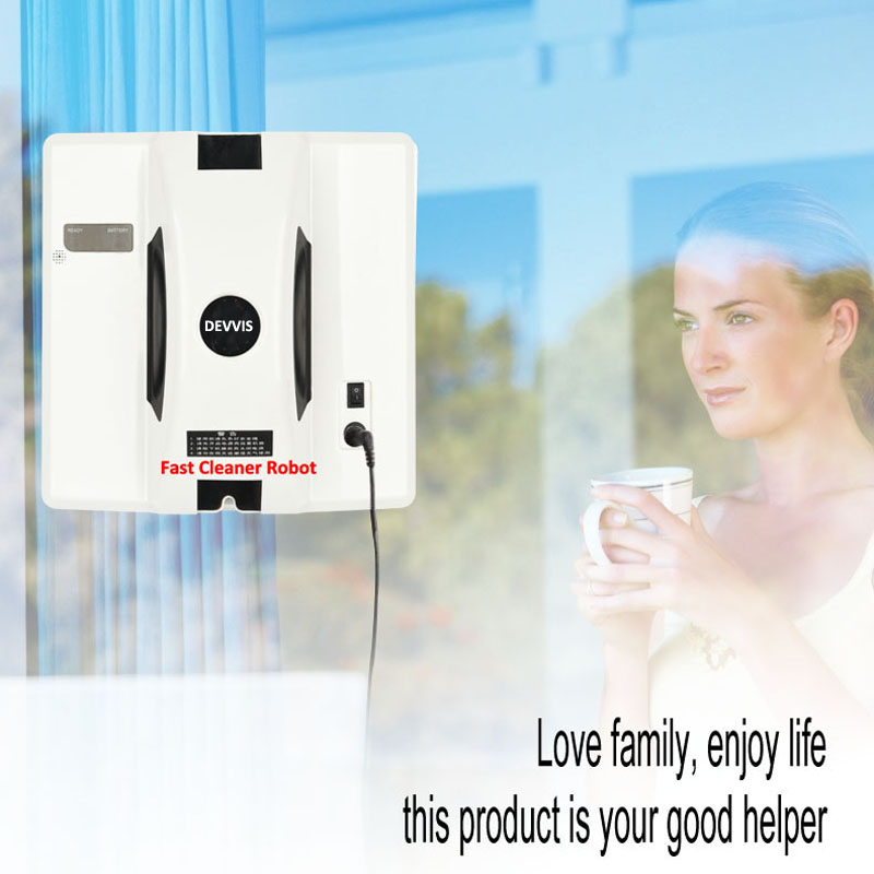DEVVIS Verre Robot De Nettoyage Fenêtre Robot, Anti chute, UPS Batterie Protection, 3 Mode de travail