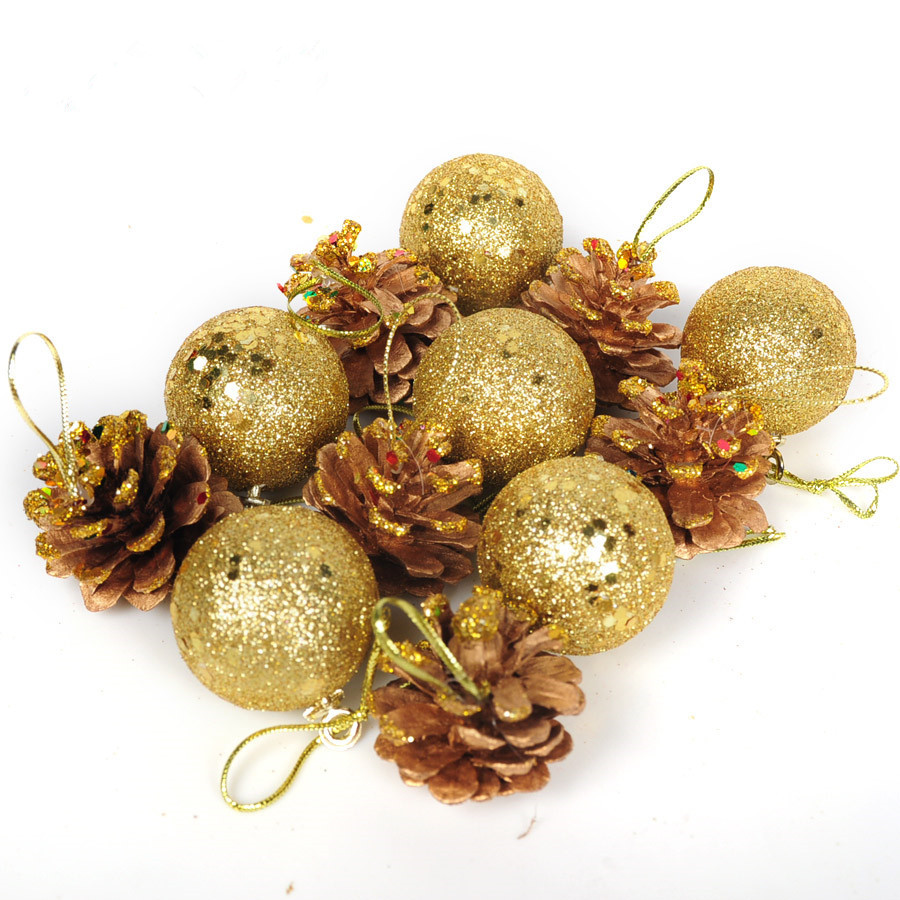 12pcs christmas tree ornaments 2017 new gold and silver pinecone ball 4cm mixed gift pack santa ball christmas gift freeshipping in pendant drop ornaments