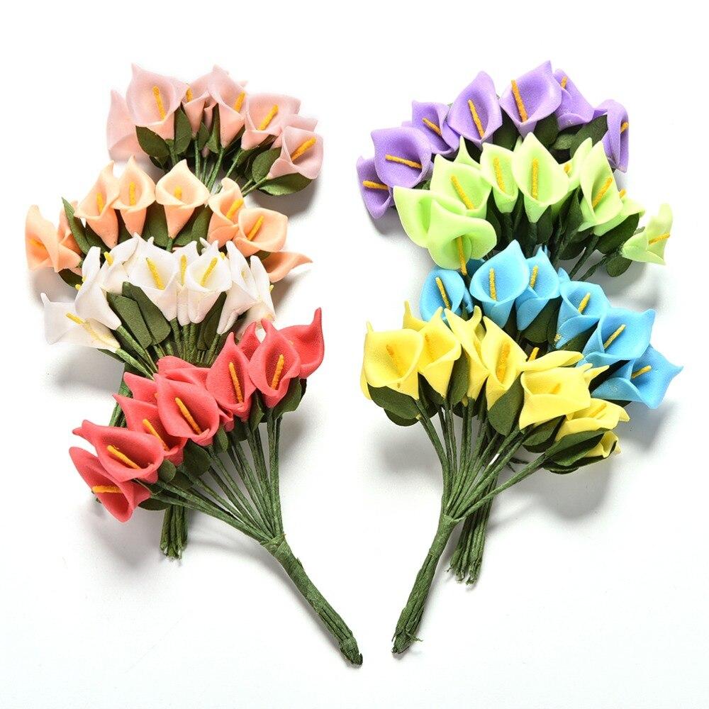 12pcs Headset Handmade Pe Foam Calla Lily Flower Bouquet