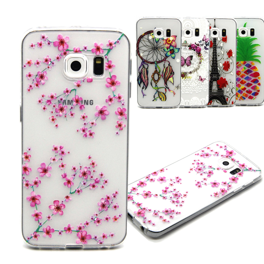 best service 27ab5 6c7ba US $1.76 |Transparent Soft Case Silicone Back Cover for Samsung Galaxy S6  edge Shell Pink Flower Pattern Fundas For S6 edge Plus Coque-in Underwear  ...