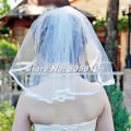 Simple Shoulder Length 40cm Wedding Bridal Veil Ribbon Edge with Comb