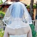 Simple Shoulder Length 40cm Wedding Bridal Veil Ribbon Edge with Comb