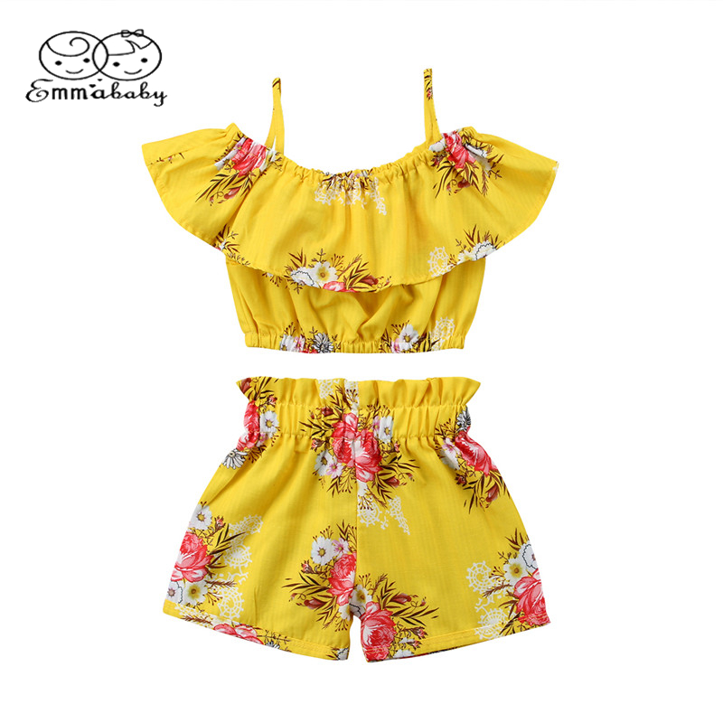 Emmababy Summer Cute Kids 2pcs Clothes Toddler Baby Girl Floral Ruffled Off shoulder Top Vest+Shorts Summer Outfits Set floral toddler girl clothing 2017 summer kids clothes baby girls off shoulder ruffle crop tops high waist shorts outfits set 3pc