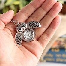 Fashion Retro Unisex Vintage Double Open Owl Pendant Antique Necklace Pocket Watch Gift High Quality Pendant Quartz Watch Clock fashion style pocket watch pendant necklace