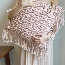 Bohemian Handmade Cushion with Tassel 45x45cm Living Room Decorative Cushions for Sofa 40x40cm White Pink Home Decor Pillow