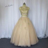 Champagne Gold Applique Günstige Quinceanera Kleider Debütantin Sweet 16 Ballkleider Kristalle Zweiteiler Prom Party Kleider