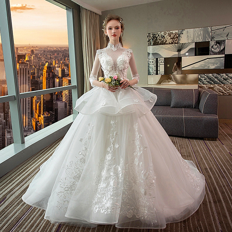 455fc70fcac62 ... Plus Size Pregnant Women Wedding Gown. . 1-9 Month Luxury Pregnancy  Maternity Wedding Dress Retro Stand Collar High Waist Long Tail. sku:  32895022614