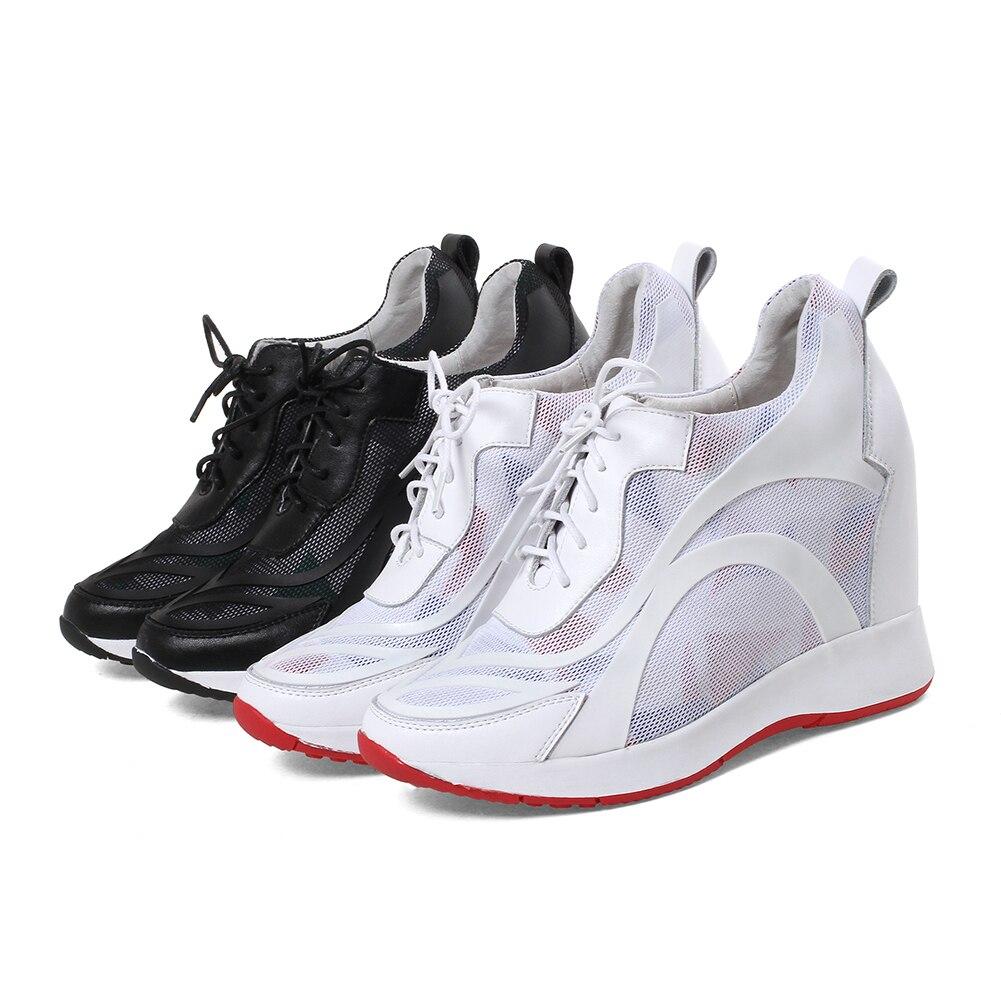 DORATASIA ขนาดใหญ่ขนาด 32 40 แฟชั่น lace   up รองเท้าผ้าใบผู้หญิงของแท้หนังฤดูใบไม้ร่วง 2019 สาวรองเท้าผู้หญิงความสูงเพิ่มขึ้น-ใน รองเท้าส้นเตี้ยสตรี จาก รองเท้า บน   2