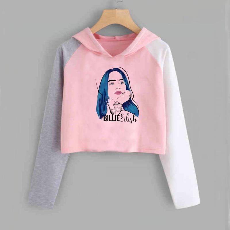 POTO Women Pullover Tops,Womens Casual Letter Print Hooded Long Sleeve Crop Top Sweatshirts Hoodies