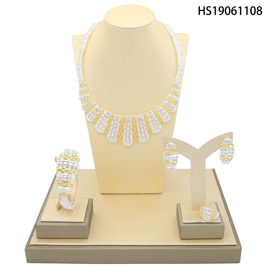 Yulaili Vintage Fashion Gold Silver Necklace African Jewelry Sets for Women Elegant Party Gift Fashion Costume Jewelry Sets in Jewelry Sets from Jewelry Accessories