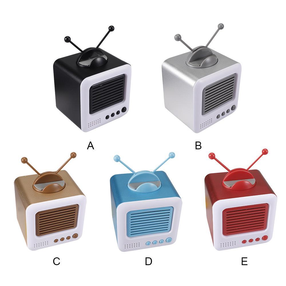 Mini Retro TV Shape Bluetooth Speaker Portable Stereo Speakers with Small Antenna Mobile Phone Holder TF Card USB Audio Input