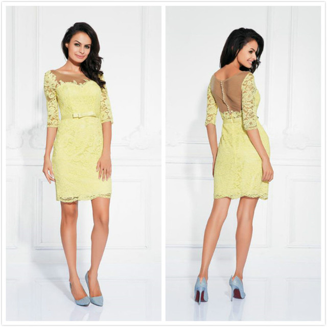 Sexy Lace Cocktail Dresses with Half Sleeves Short Party Dress Sheath Sheer Neck Formal Wear Special Occasion Vestidos coctel