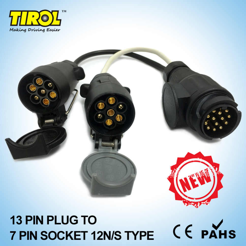 tirol 13 pin euro plug to 12n 12s 7 pin sockets caravan towing conversion adapter trailer [ 1000 x 1000 Pixel ]
