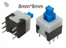 цена на 30pcs/lot Square 8x8x13mm 6 Pin DPDT Mini Push Button Self-locking Switch G65 Multimeter Switch Free Shipping