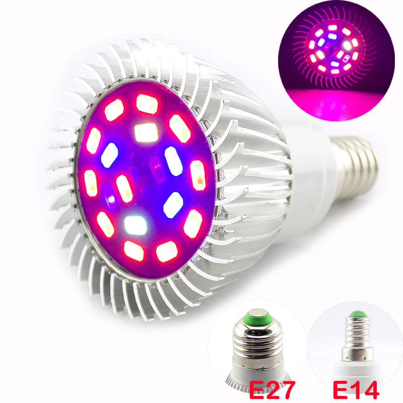 18 Led Full Spectrum Plant Grow Light Lamp E27 E14 Aluminum Flower Growing Light Bulb For Indoor Cultivo Room Growbox Vegetable
