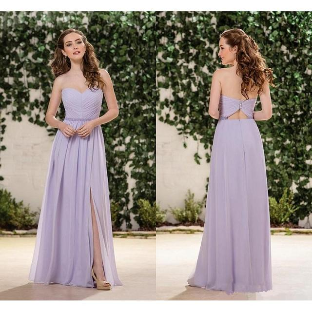 Jasmine Lilac Lavender Chiffon Bridesmaid Dresses Sweetheart Side Split Floor Length Junior Bridesmaids Dress Wedding Guest