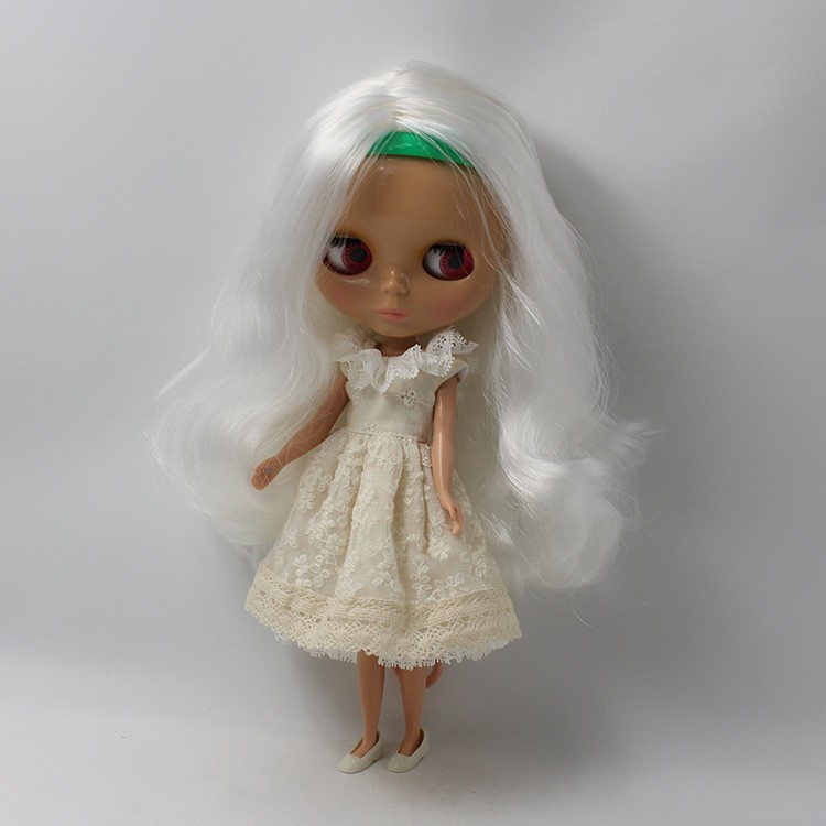 Nude Doll BL136 centre parting long wavy hair, white hair normal doll sunshine skin 1/6 doll blyth doll neo vogue multi colored synthetic lolita cosplay towheaded wavy long centre parting capless women s wig