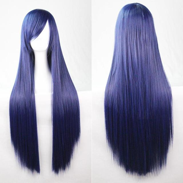 250g 20 Colors 80cm Navy blue Women Straight Anime Straight Wigs Long Hair Harajuku Kinky Cosplay Wig For Black Women W001