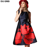 2015 Summer New Fat Mm Long Section Of Red Flower Dress Blue Dress Code For Europe