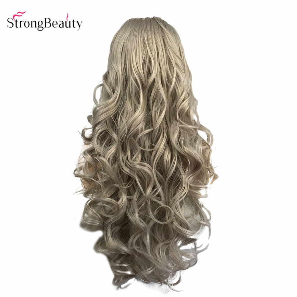 """StrongBeauty серебристо-серый кружевной передний парик для черных женщин длинные волнистые синтетический парик из волос 24"""""""