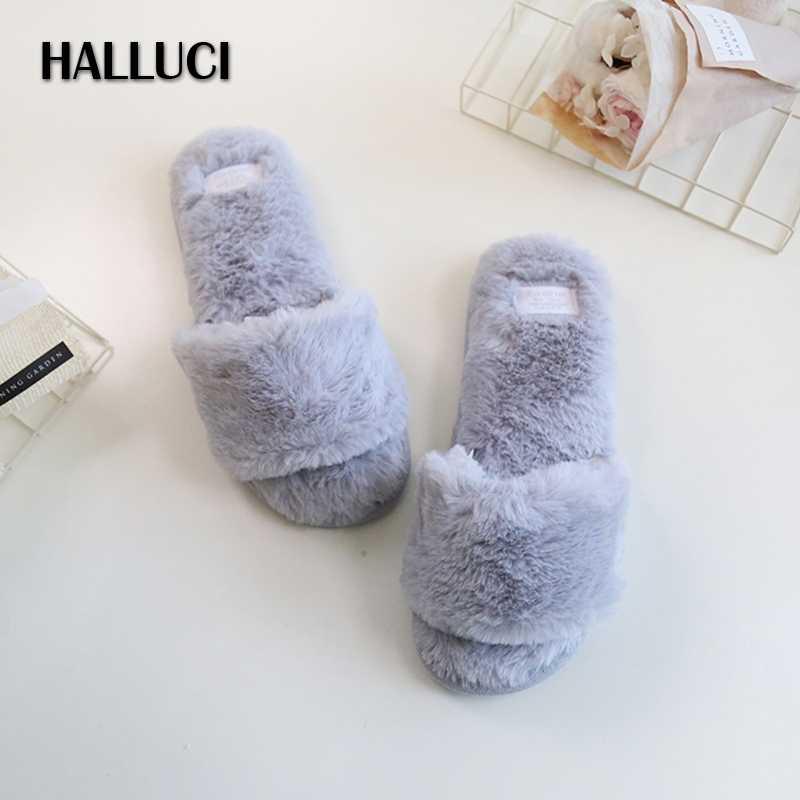 eb229a0683dd37 HALLUC Summer plush velvet home slippers women fluffy peep-toe simple  indoor sandals ladies shoes