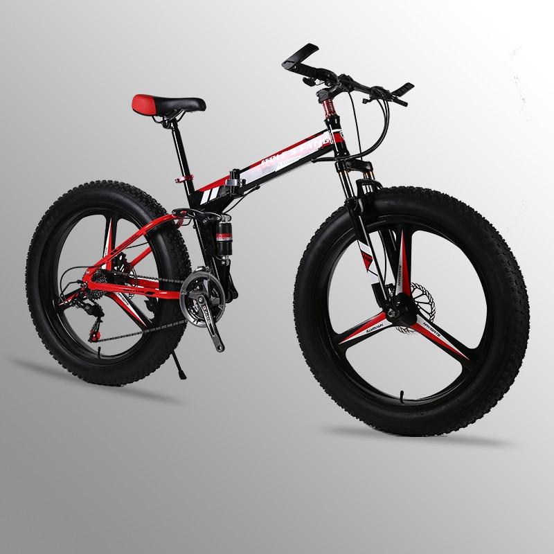 Vol Leopard VTT 24 vitesse 26x4.0 vélo Pliant graisse vélo À Double freins à disque Vélos Moto Neige Avant et arrière amortissement