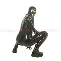 Men Latex Bodysuit Full Cover Costumes Rubber Fetish With Catsuit Two Zippers S LCM102A