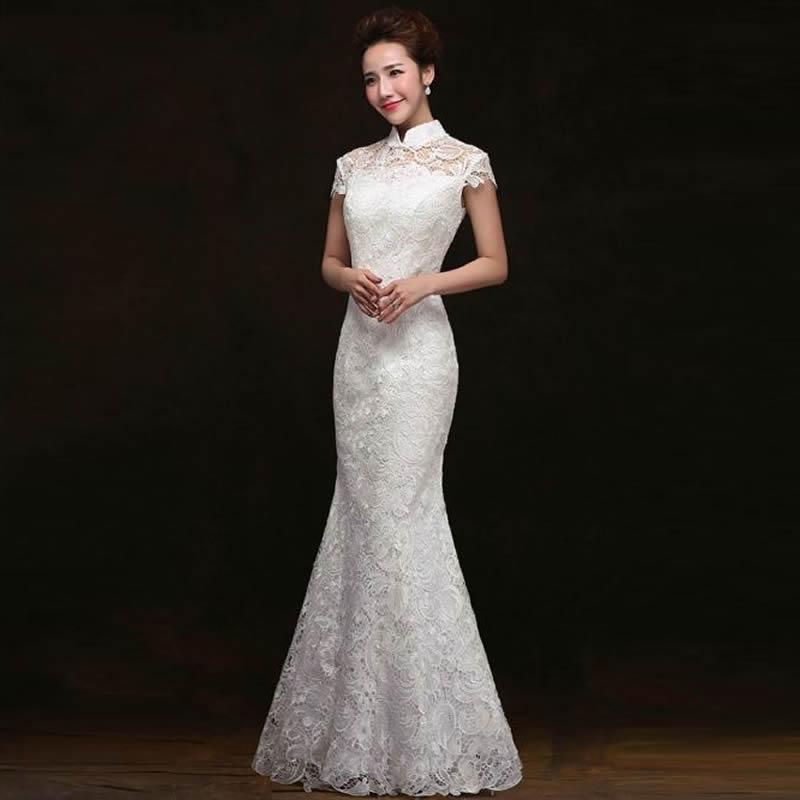 White Traditional Chinese Wedding Dress