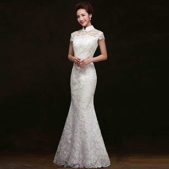 Chinese Traditional Dress White Lace Fishtail Wedding Qipao Dress Chinese Bride Mermaid Wedding Cheongsam Dress Long Cheongsam