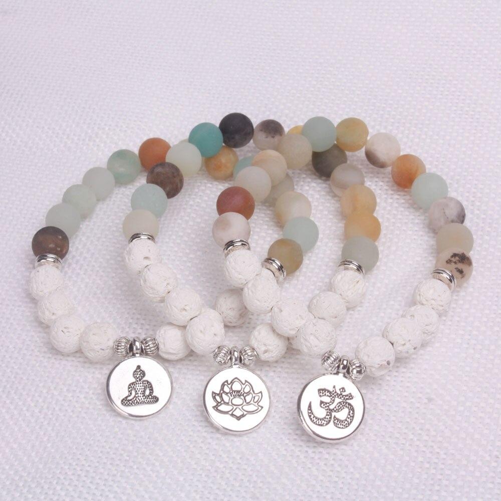 1pcs white Lava stones and Matte Frosted Amazonite beads with Lotus OM Buddha Charm Yoga Bracelet(China)