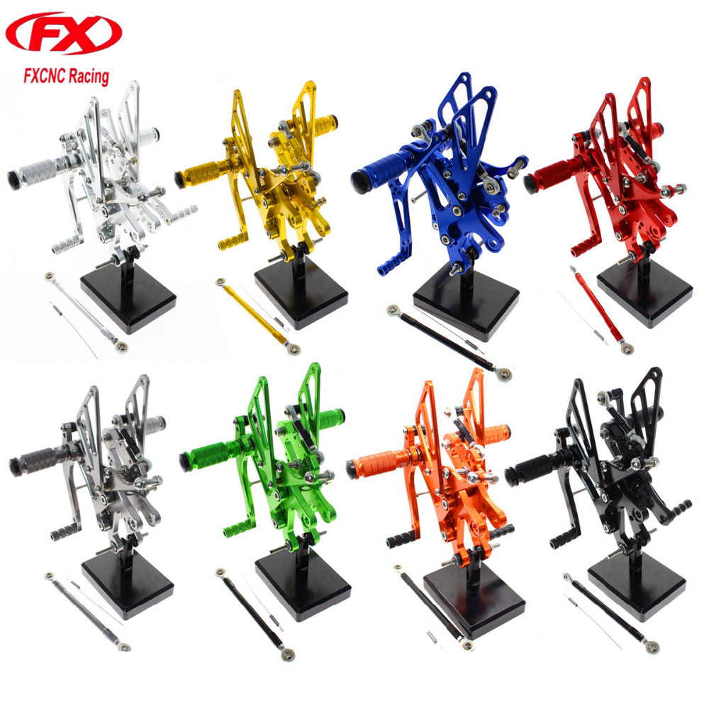 For Yamaha YZF R6 R 6 1999 2000 2001 2002 Aluminum CNC Adjustable Motorcycle Rider Rear Sets Rearset Footrest Foot Pegs Pedals cnc aluminum motorcycle adjustable rearset rear set foot pegs pedal footrest for kawasaki ninja 650 ex650 er 6n er 6f 2012 2016