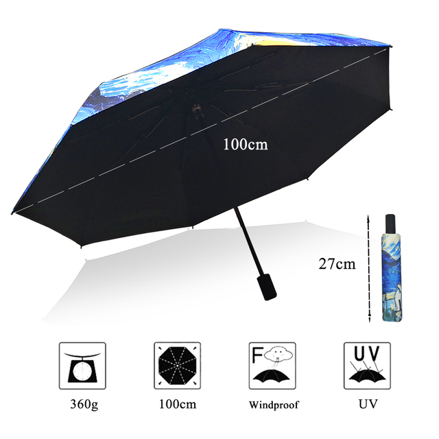 LIKE RAIN Chinese Art Sakura Umbrellas Female Van Gogh Painting Folding Umbrella Rain Women Windproof Anti-UV Sun Parasol YHS03