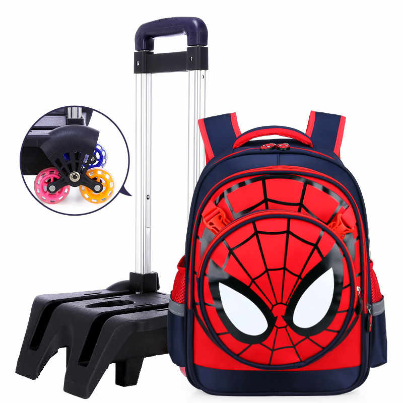 f76b0fd6b4 ... Climb the stairs travel luggage child with wheels school bag students rolling  suitcase Spiderman backpack cartoon