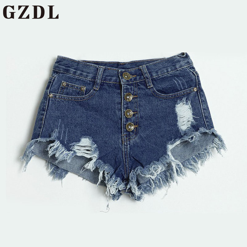 GZDL 2017 Summer Girls Casual High Waist Washed Ripped Hole Mini Jeans Button Fly Pocket Slim Denim Pants Women Shorts CL3544 stainless steel car styling full window trim decoration strips for chevrolet cruze 2010 2011 2012 2013 2014 oem 14