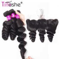 Tinashe Hair Peruvian Hair กับการปิด Remy มนุษย์ผมลูกไม้ด้านหน้ากับ Bundles หลวมการรวมกลุ่ม