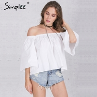 Simplee Apparel Sexy Off Shoulder Cotton White Blouse Shirt Summer 2016 Ruffles Girls Blouse Women Tube