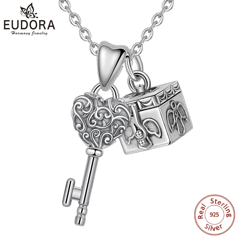EUDORA Sterling Silver Genuine vintage Key Necklace Silver Antique Box Locket charm pendant Key to my Heart/DIY Jewelry D400