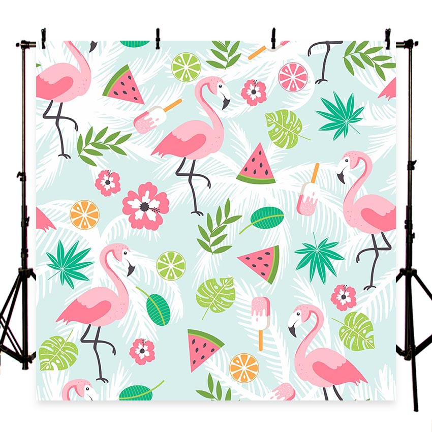 Watercolor pink flower Flamingo watermelon Photography backdrop Birthday party Photo background Banner backgrounds studio G-471 funnytree photography background travel birthday party world map hot air balloon backdrop photocall photo studio professional