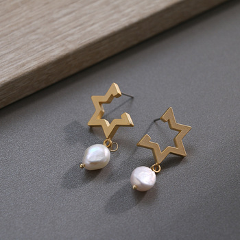 Pendientes irregulares 100% con perlas naturales, pendientes Retro con pasador 14KGF para mujer, joyería para fiesta y boda