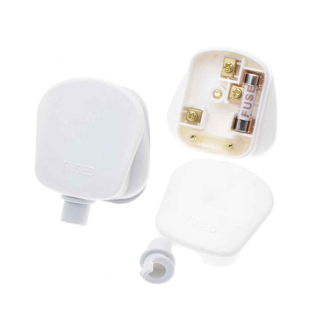 Putih/Hitam 3 Pin Inggris Listrik Atas Plug 13A 13 AMP Alat Power Socket Fuse Adapter Rumah Tangga, 1 Pcs