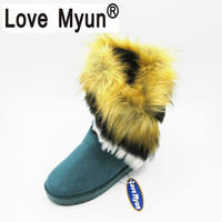 Fashion Fox Fur Warm Autumn Winter Wedges Snow Women Boots Shoes Lady Short Boots Casual Long