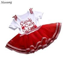 Niosung New Fashion Children Baby Girl Kids Party Christmas NewYear Xmas TuTu Short Sleeve Dress Baby Kids Christmas Gift