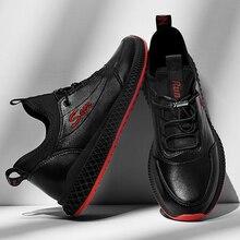 SUROM baskets respirantes en cuir chaussures décontractées hommes léger confortable en plein air chaussures à lacets athlétiques hommes antidérapant