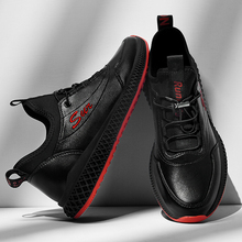 Zapatillas de deporte transpirables SUROM zapatos casuales de cuero para hombres ligeros cómodos al aire libre con cordones zapatos deportivos masculinos antideslizantes
