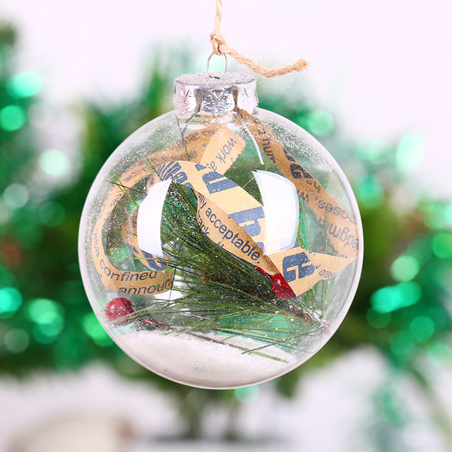 Clear Glass Ball Xmas Ball Ornament Supplier Pine Branch Words Christmas Holiday Festival Decoration Bauble Fillable Globe8cm